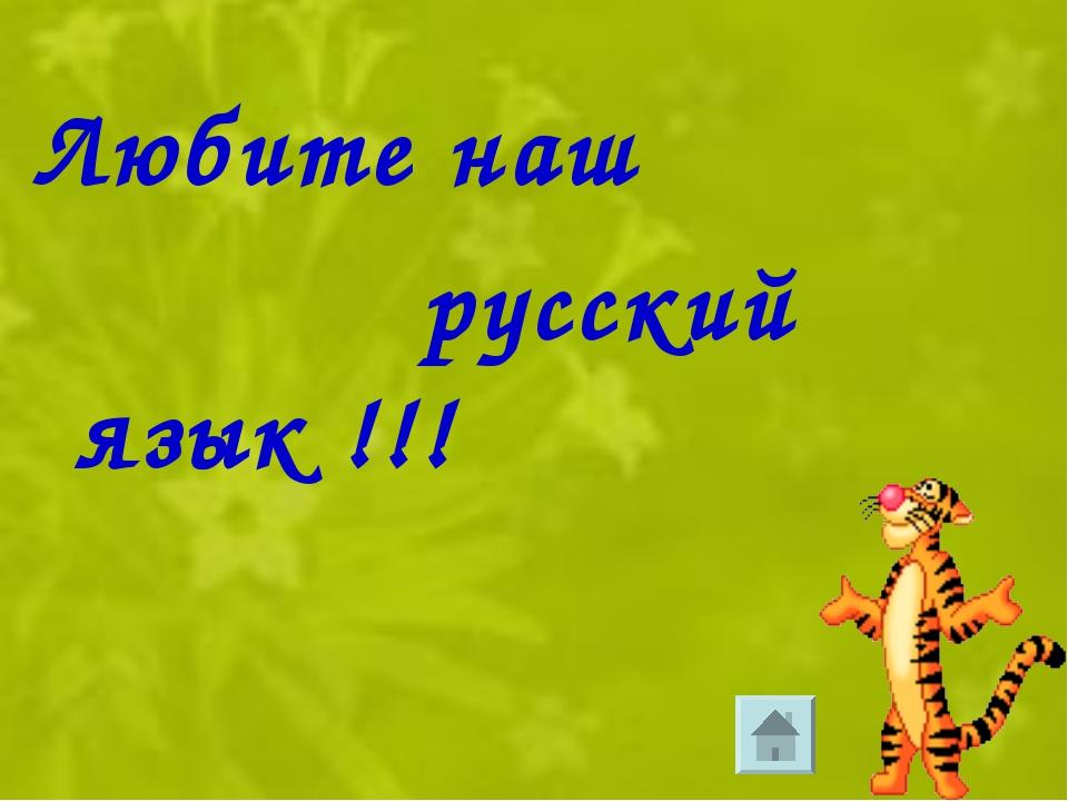 Любите наш русский язык !!!