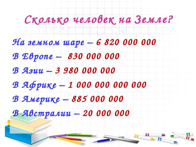 Сколько человек на Земле? На земном шаре – 6 820 000 000 В Европе – 830 000 0...