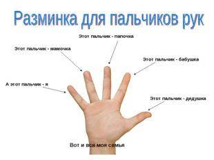 Этот пальчик - дедушка Этот пальчик - бабушка А этот пальчик - я Этот пальчик