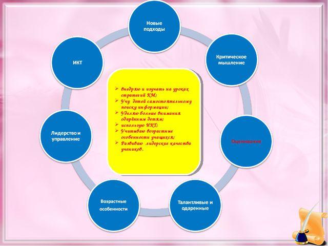 внедряю и изучать на уроках стратегий КМ; Учу детей самостоятельному поиску и...