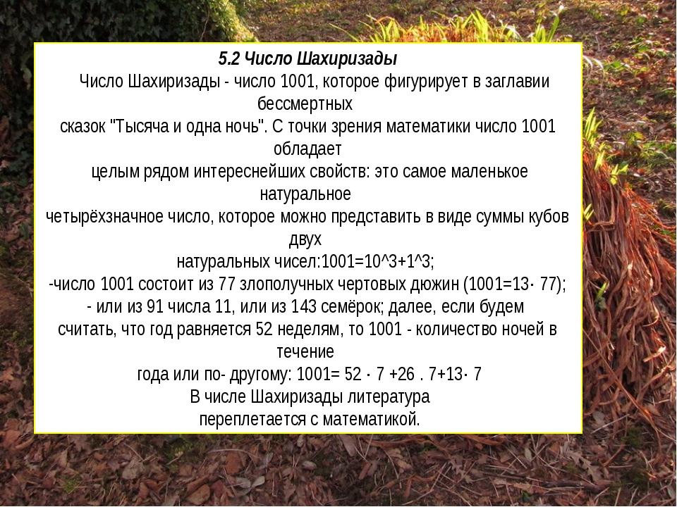 5.2 Число Шахиризады Число Шахиризады - число 1001, которое фигурирует в загл...