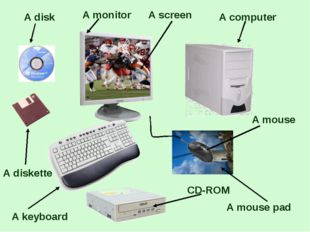 A monitor A disk A diskette A keyboard A screen A computer A mouse pad CD-RO