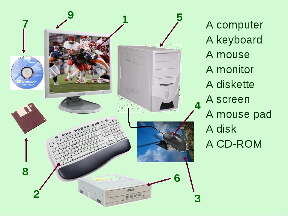 A computer A keyboard A mouse A monitor A diskette A screen A mouse pad A di...