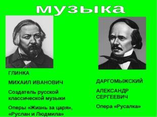 ГЛИНКА МИХАИЛ ИВАНОВИЧ Создатель русской классической музыки Оперы «Жизнь за