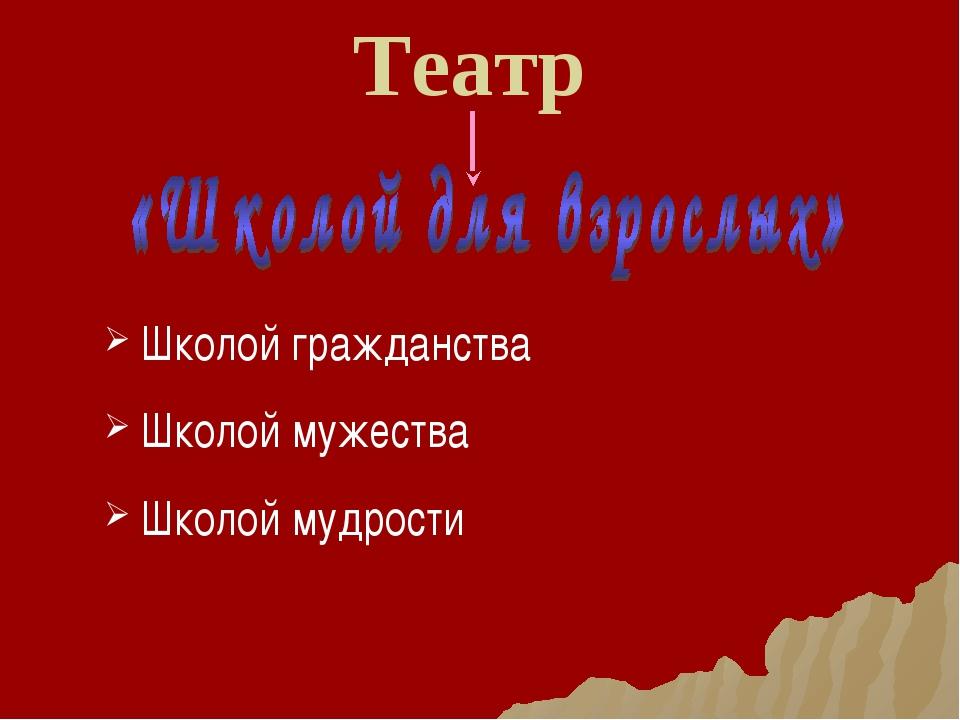 Театр Школой гражданства Школой мужества Школой мудрости