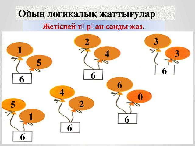 Ойын логикалық жаттығулар 6 6 6 6 6 6 6 1 5 2 4 3 3 5 1 4 2 6 0 Жетіспей тұрғ...