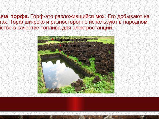 Добыча торфа. Торф-это разложившийся мох. Его добывают на болотах. Торф широ...