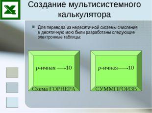 Создание мультисистемного калькулятора Для перевода из недесятичной системы с