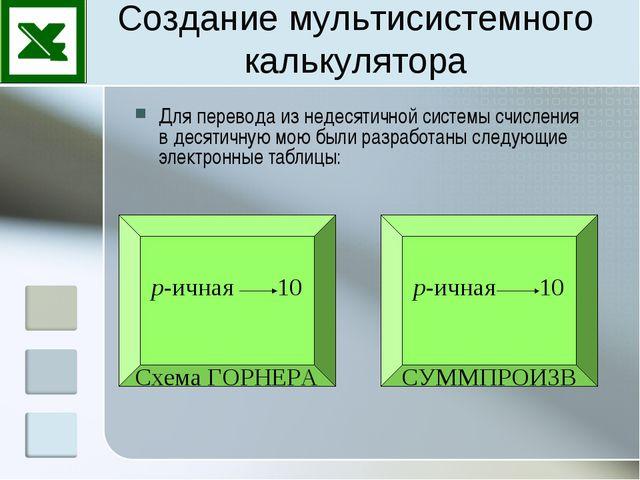 Создание мультисистемного калькулятора Для перевода из недесятичной системы с...