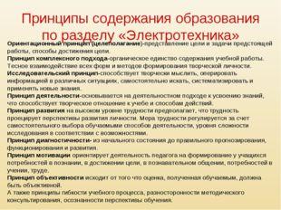 Принципы содержания образования по разделу «Электротехника» Ориентационный пр