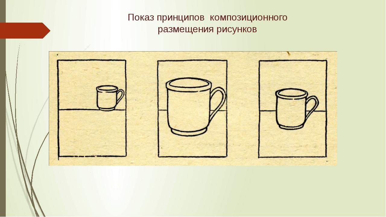 Показ принципов композиционного размещения рисунков