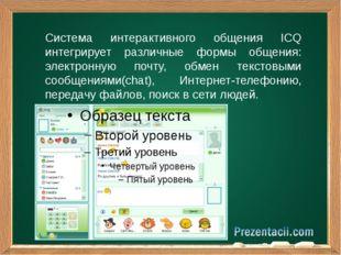 Система интерактивного общения ICQ интегрирует различные формы общения: элект