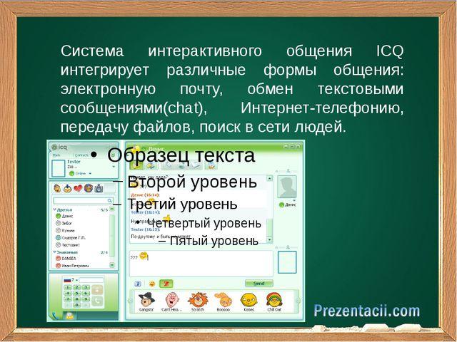 Система интерактивного общения ICQ интегрирует различные формы общения: элект...