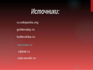 cat.mau.ru ru.wikipedia.org kotikoshka.ru vipkat.ru cats-exotic.ru goldenaby.ru