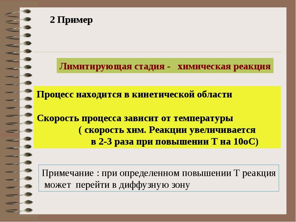 2 Пример Лимитирующая стадия - химическая реакция Процесс находится в кинетич...
