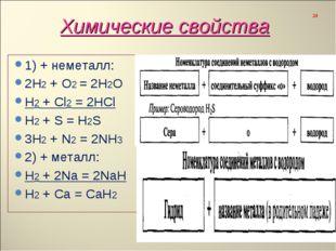 1) + неметалл: 1) + неметалл: 2Н2 + О2 = 2Н2О Н2 + Сl2 = 2HCl H2 + S = H2