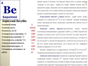 Бериллий Berylliu Бериллий Berylliu Атомный номер