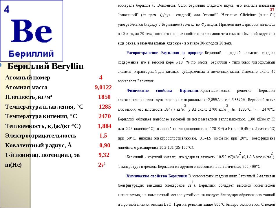 Бериллий Berylliu Бериллий Berylliu Атомный номер...