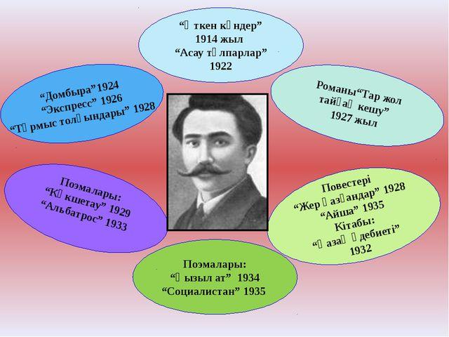 """Домбыра""1924 ""Экспресс"" 1926 ""Тұрмыс толқындары"" 1928 ""Өткен күндер"" 1914 жы..."