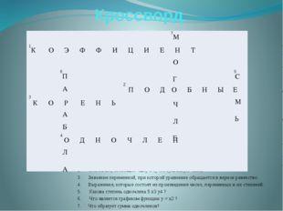 Кроссворд Числовой множитель одночлена, записанного в стандартном виде. Слага