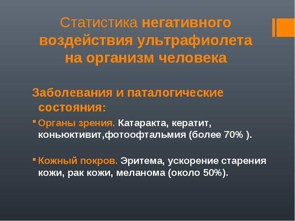 Статистика негативного воздействия ультрафиолета на организм человека Заболев...