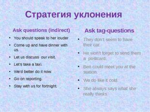 Стратегия уклонения Ask questions (indirect) You should speak to her louder C