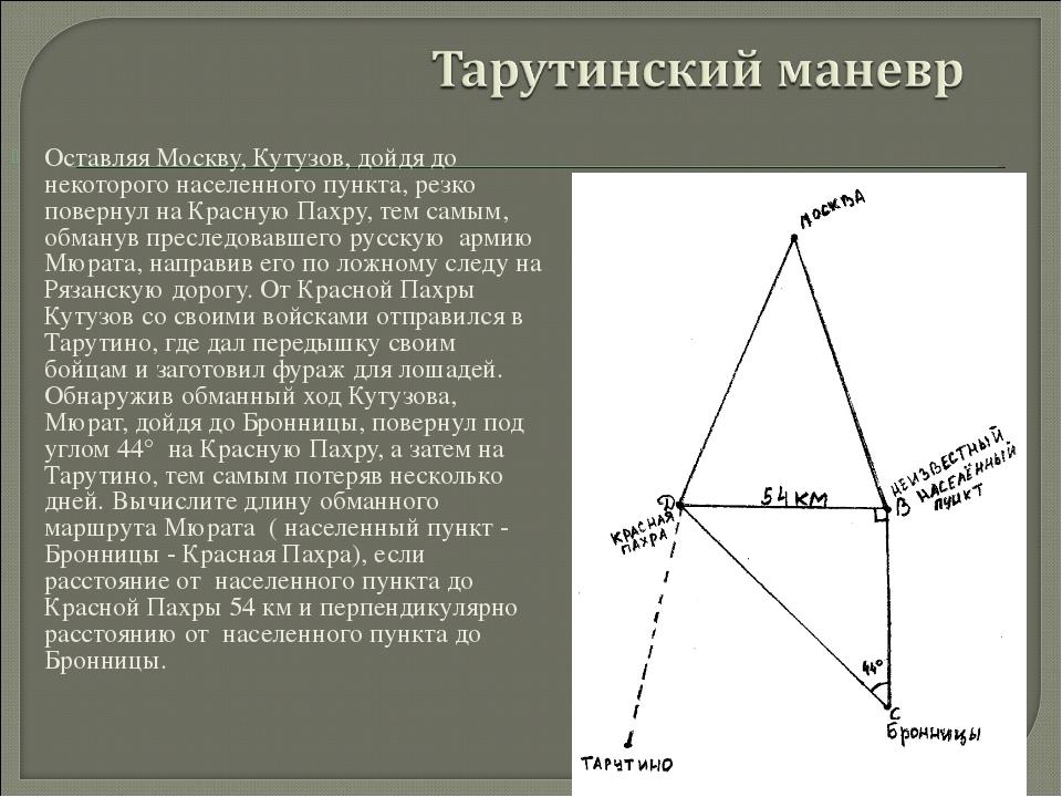 Оставляя Москву, Кутузов, дойдя до некоторого населенного пункта, резко повер...