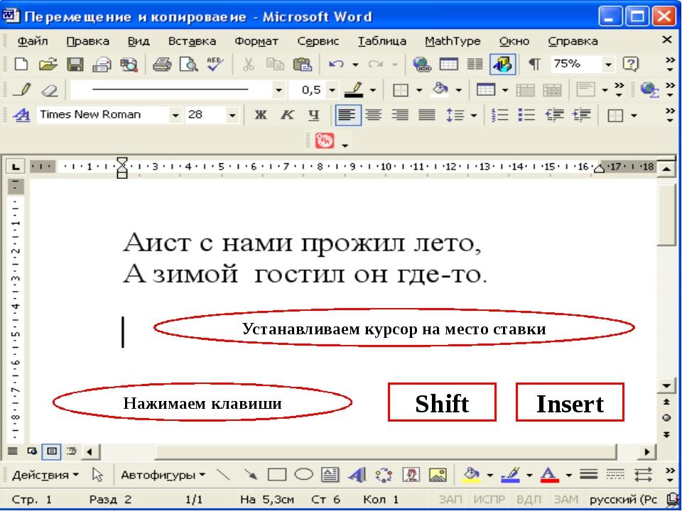 Устанавливаем курсор на место ставки Нажимаем клавиши Shift Insert