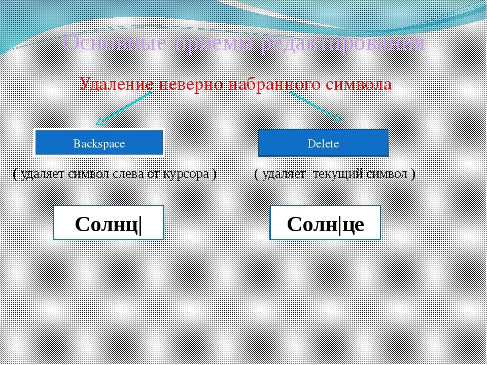 Основные приемы редактирования Удаление неверно набранного символа ( удаляет...