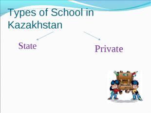 Types of School in Kazakhstan State Private