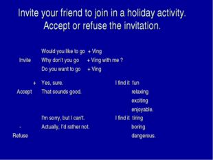 Invite your friend to join in a holiday activity. Accept or refuse the invita