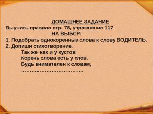 ДОМАШНЕЕ ЗАДАНИЕ Выучить правило стр. 75, упражнение 117 НА ВЫБОР: По