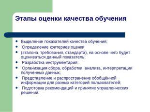 Этапы оценки качества обучения Выделение показателей качества обучения; Опред