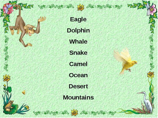 Eagle Dolphin Whale Snake Camel Ocean Desert Mountains