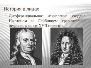 История в лицах Дифференциальное исчисление создано Ньютоном и Лейбницем срав