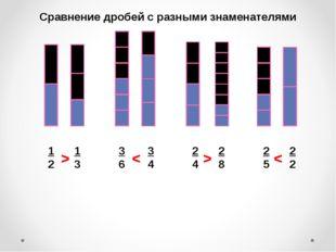 Сравнение дробей с разными знаменателями 1 2 1 3 2 4 2 8 2 5 2 2 3 6 3 4 < <