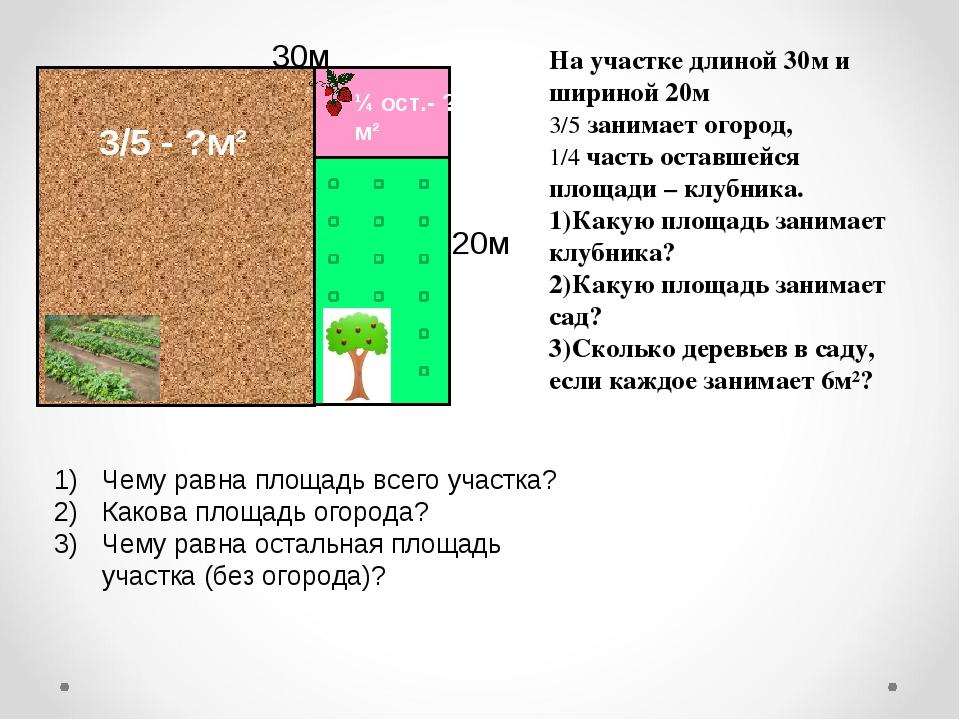 На участке длиной 30м и шириной 20м 3/5 занимает огород, 1/4 часть оставшейся...