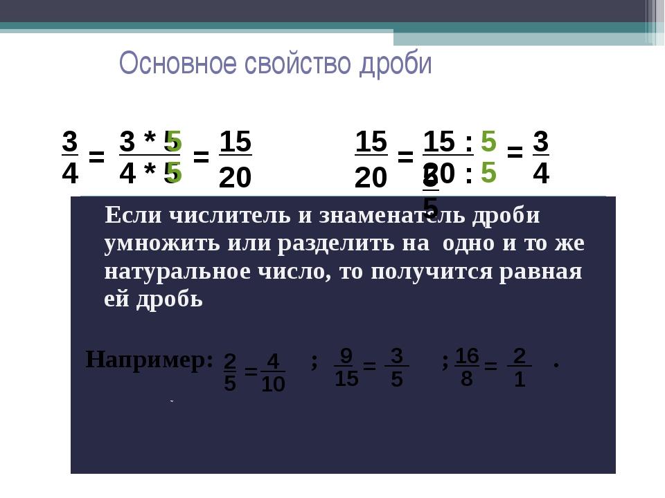 Основное свойство дроби Если числитель и знаменатель дроби умножить или разде...