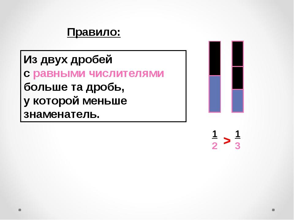 Правило: Из двух дробей с равными числителями больше та дробь, у которой мень...