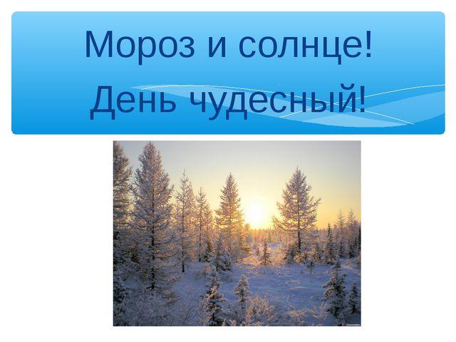 Мороз и солнце! День чудесный! Масько Л.Г.