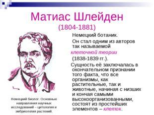 Матиас Шлейден (1804-1881) Немецкий ботаник. Он стал одним из авторов так наз