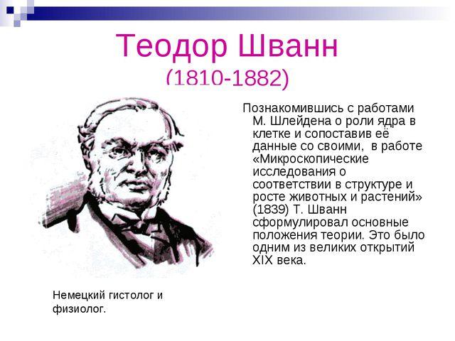 Теодор Шванн (1810-1882) Познакомившись с работами М. Шлейдена о роли ядра в...