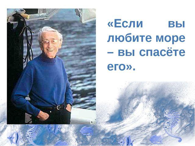 «Если вы любите море – вы спасёте его».