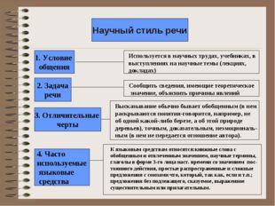 Научный стиль речи 1. Условие общения 2. Задача речи 3. Отличительные черты 4