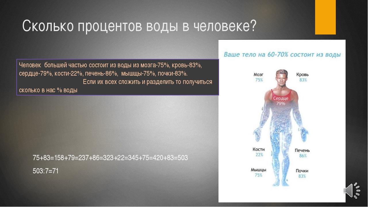 Сколько процентов воды в человеке? 75+83=158+79=237+86=323+22=345+75=420+83=5...