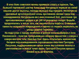 В этих боях советские воины проявили отвагу и героизм. Так, бывший горловский