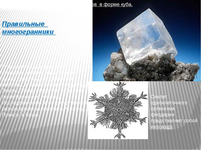 Правильные многогранники Поваренная соль состоит из кристаллов в форме куба....