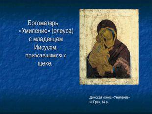 Богоматерь «Умиление» (елеуса) с младенцем Иисусом, прижавшимся к щеке. Донск