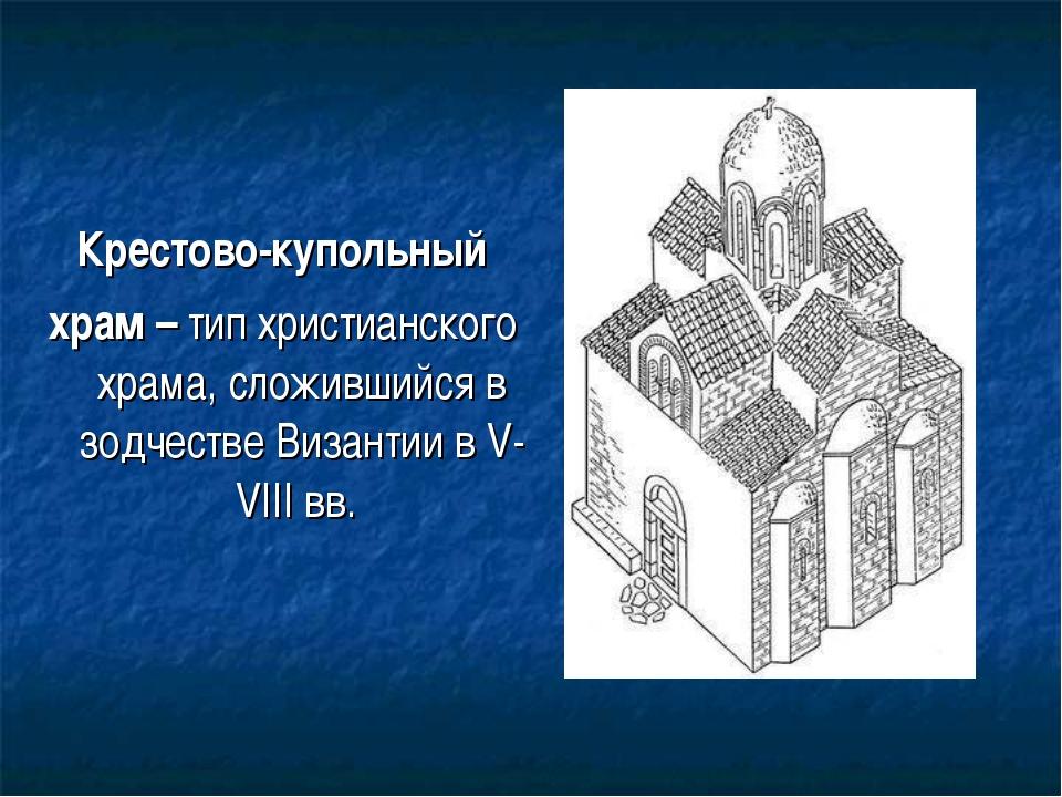 Крестово-купольный храм – тип христианского храма, сложившийся в зодчестве Ви...