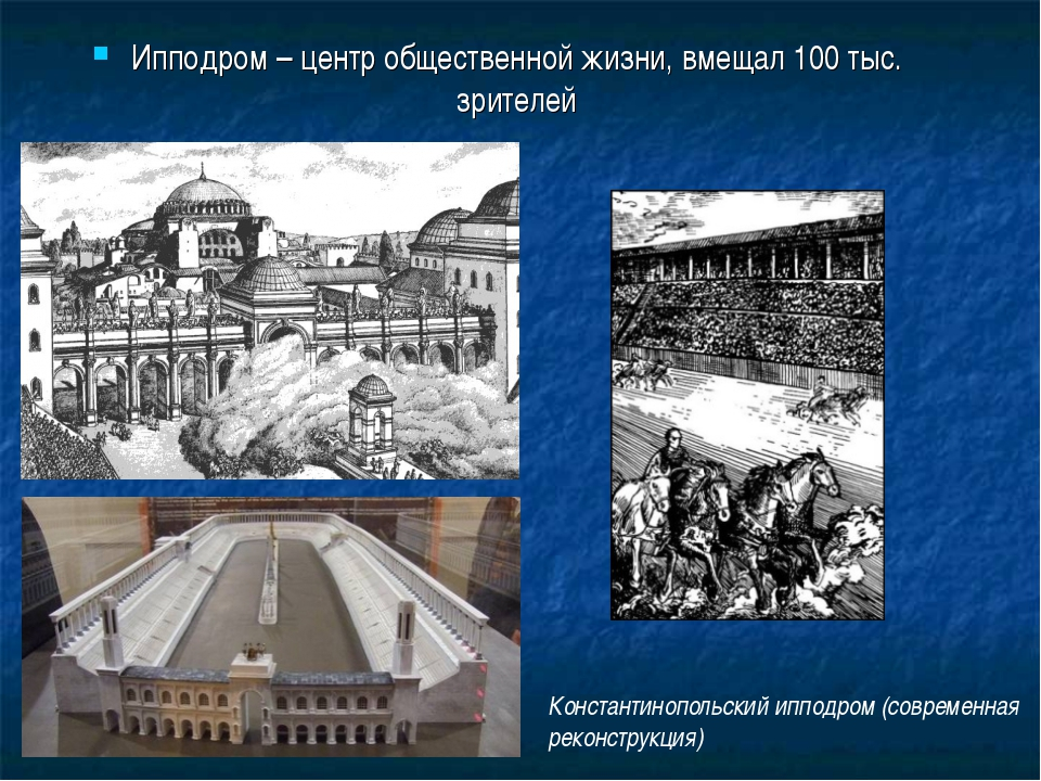 Ипподром – центр общественной жизни, вмещал 100 тыс. зрителей Константинополь...